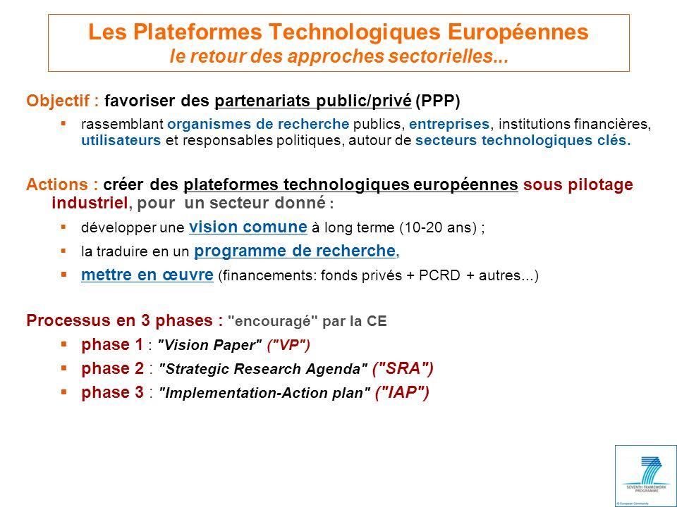 Les Plateformes Technologiques Européennes le retour des approches sectorielles...