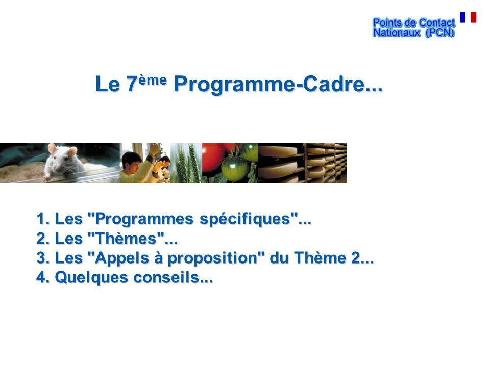 Le 7 ème Programme-Cadre... 1.Les Programmes spécifiques ...