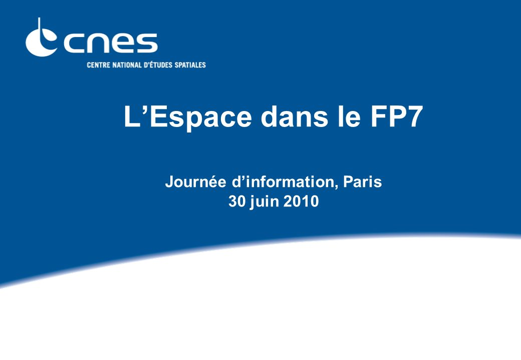 Journée d information FP7 Espace, Paris le 30 juin 2010 22 3rd Call 2010 - Topic breakdown of budget The overall budget in 2010 is of order 216 M, of which : 97 M are foreseen for EC-ESA Delegation Agreement (2nd transfer to ESA for GSC) 2,3 M for horizontal activities (conferences, communication, monitoring, studies…) 3,2 M for Expert evaluators and General activities (Cordis, Cost, Eureka, ERA-Net) The budget for the Call is of order 114 M, rough indication : GMES area: 47 M Space Foundations: 58 M Cross-cutting / International Cooperation 9 M GMES Core Services will require large investments in the years 2011 to 2013.