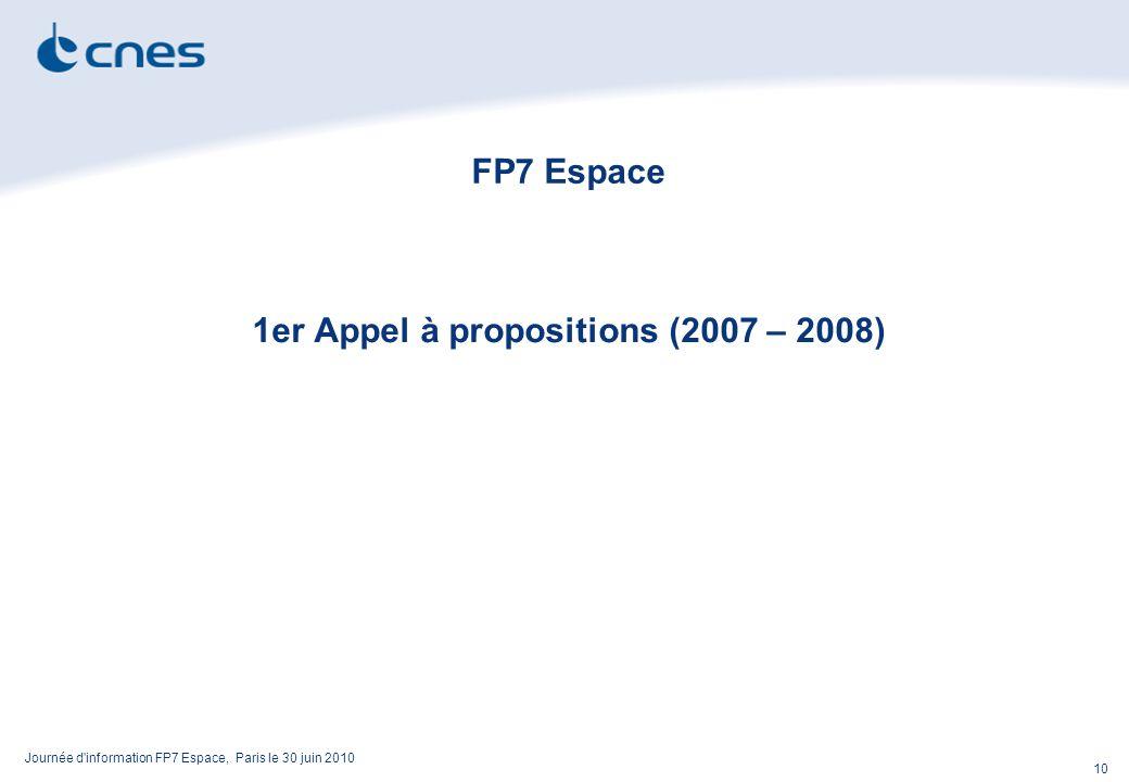 Journée d information FP7 Espace, Paris le 30 juin 2010 10 FP7 Espace 1er Appel à propositions (2007 – 2008)