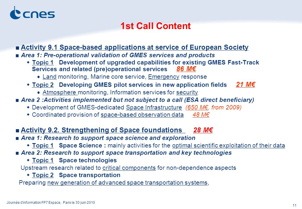 Journée d information FP7 Espace, Paris le 30 juin 2010 11 1st Call Content Activity 9.1 Space-based applications at service of European Society Area 1: Pre-operational validation of GMES services and products Topic 1 Development of upgraded capabilities for existing GMES Fast-Track Services and related (pre)operational services 86 M Land monitoring, Marine core service, Emergency response Topic 2 Developing GMES pilot services in new application fields 21 M Atmosphere monitoring, Information services for security Area 2 :Activities implemented but not subject to a call (ESA direct beneficiary) Development of GMES-dedicated Space Infrastructure (650 M, from 2009) Coordinated provision of space-based observation data 48 M Activity 9.2.