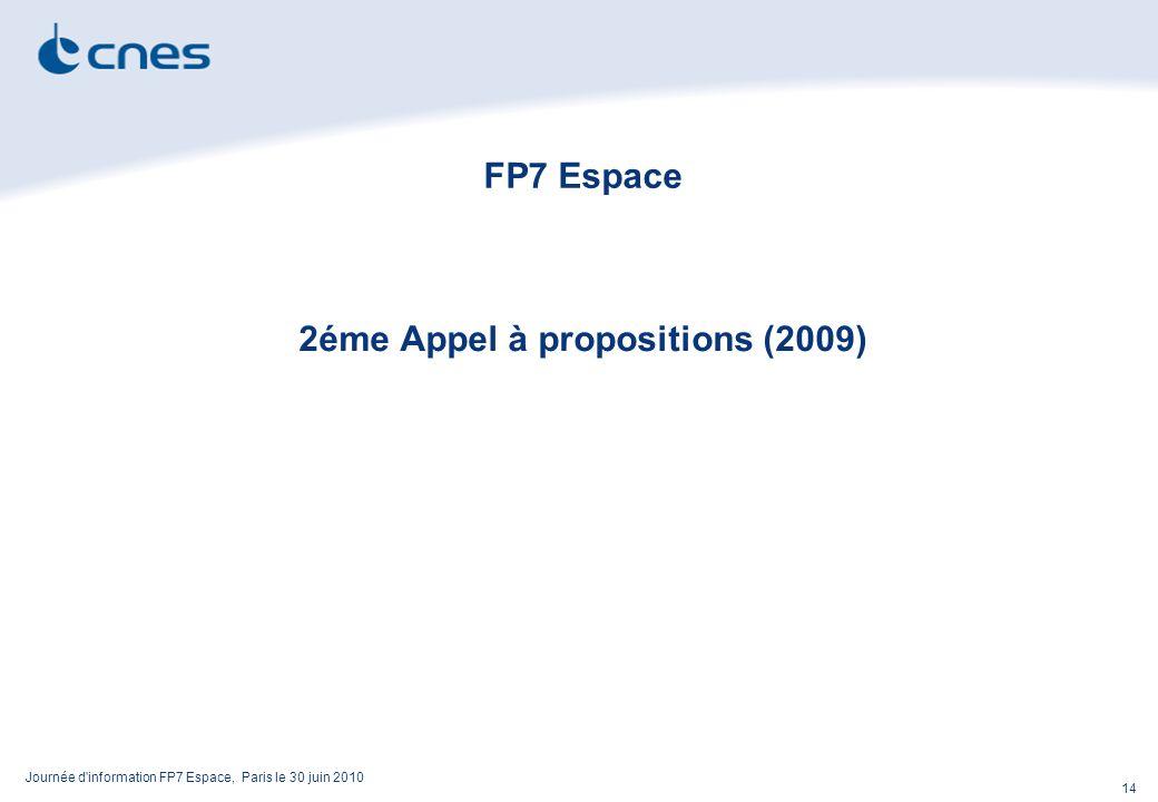 Journée d information FP7 Espace, Paris le 30 juin 2010 14 FP7 Espace 2éme Appel à propositions (2009)