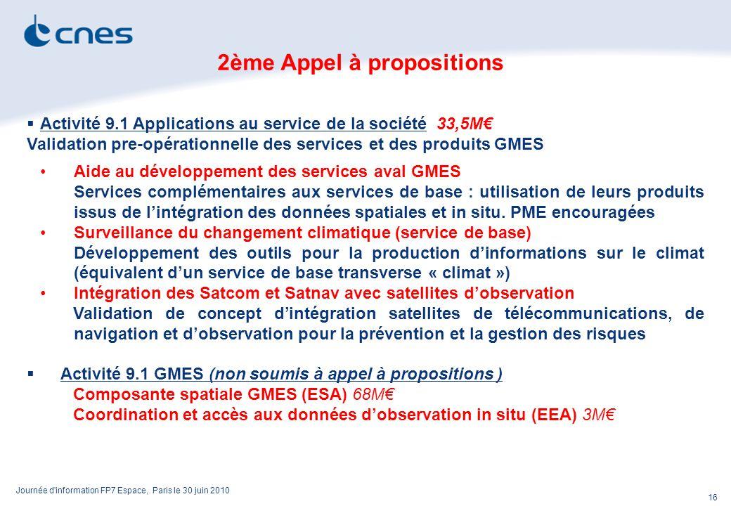 Journée d information FP7 Espace, Paris le 30 juin 2010 16 2ème Appel à propositions Activité 9.1 Applications au service de la société 33,5M Validation pre-opérationnelle des services et des produits GMES Aide au développement des services aval GMES Services complémentaires aux services de base : utilisation de leurs produits issus de lintégration des données spatiales et in situ.