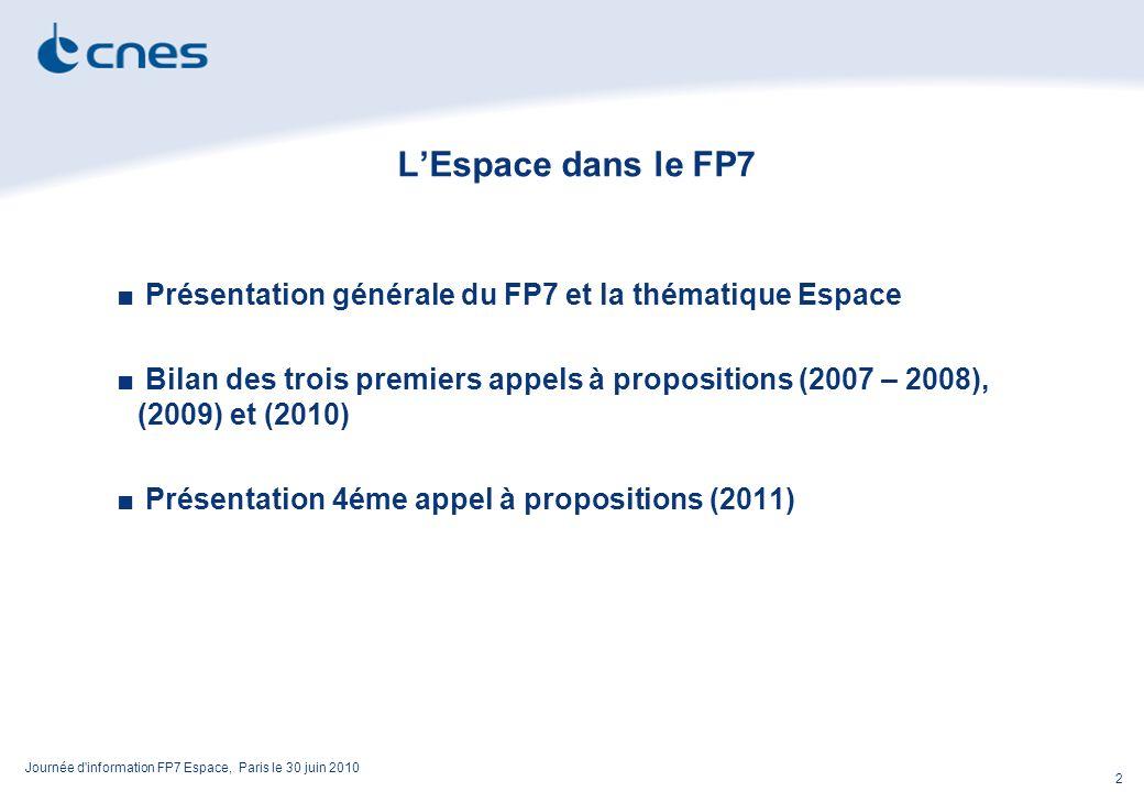 Journée d information FP7 Espace, Paris le 30 juin 2010 2 LEspace dans le FP7 Présentation générale du FP7 et la thématique Espace Bilan des trois premiers appels à propositions (2007 – 2008), (2009) et (2010) Présentation 4éme appel à propositions (2011)