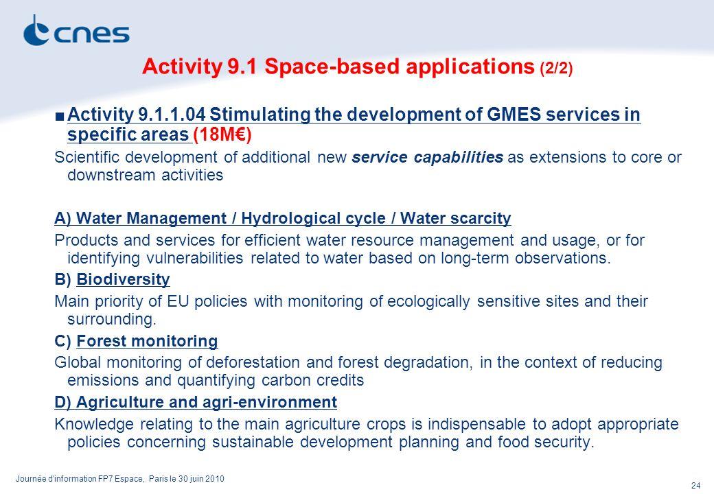Journée d'information FP7 Espace, Paris le 30 juin 2010 24 Activity 9.1 Space-based applications (2/2) Activity 9.1.1.04 Stimulating the development o