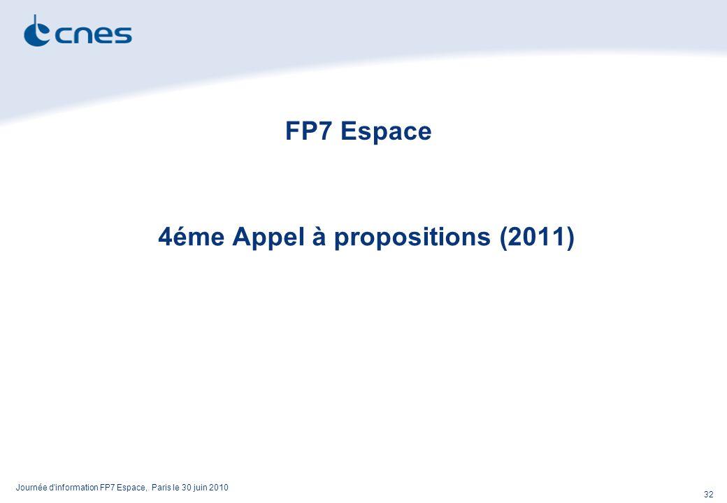 Journée d information FP7 Espace, Paris le 30 juin 2010 32 FP7 Espace 4éme Appel à propositions (2011)