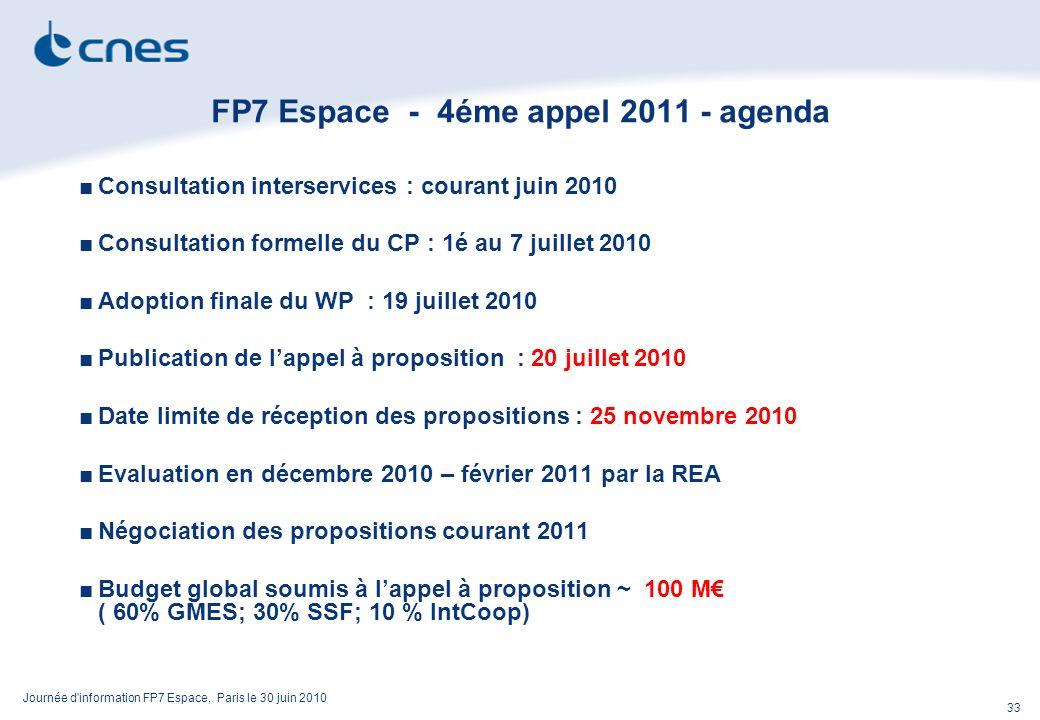 Journée d information FP7 Espace, Paris le 30 juin 2010 33 FP7 Espace - 4éme appel 2011 - agenda Consultation interservices : courant juin 2010 Consultation formelle du CP : 1é au 7 juillet 2010 Adoption finale du WP : 19 juillet 2010 Publication de lappel à proposition : 20 juillet 2010 Date limite de réception des propositions : 25 novembre 2010 Evaluation en décembre 2010 – février 2011 par la REA Négociation des propositions courant 2011 Budget global soumis à lappel à proposition ~ 100 M ( 60% GMES; 30% SSF; 10 % IntCoop)