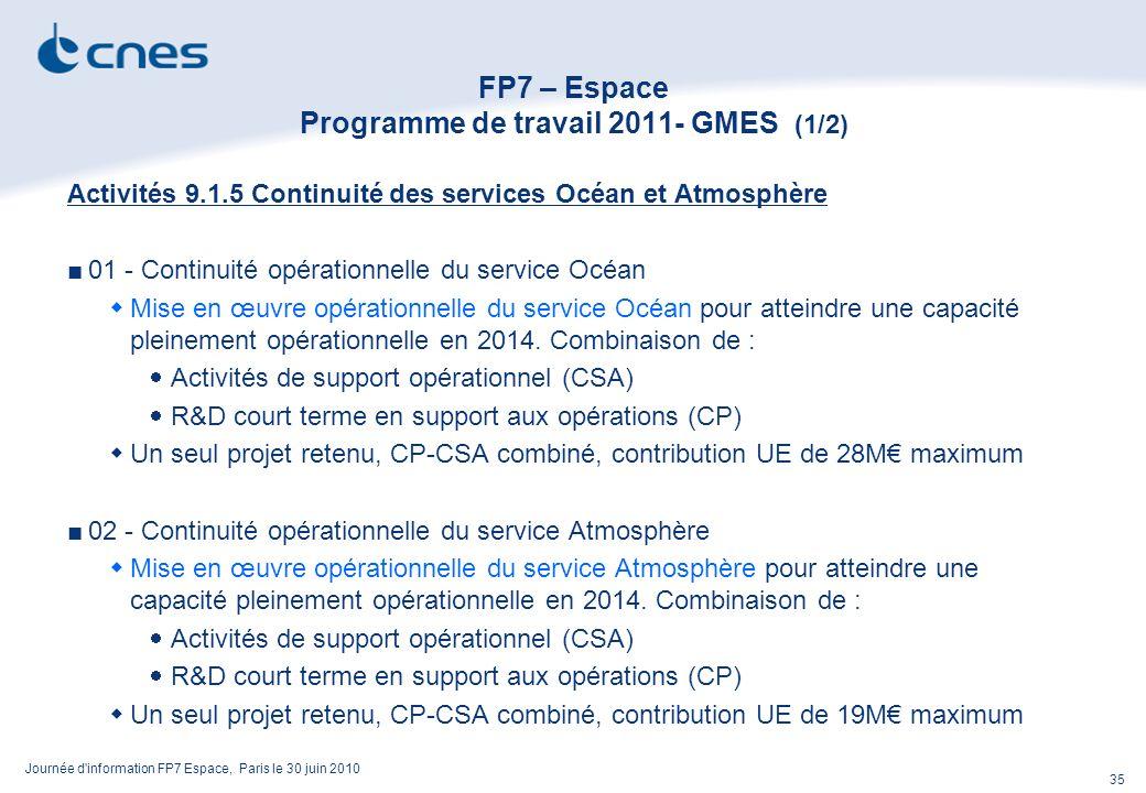 Journée d information FP7 Espace, Paris le 30 juin 2010 35 FP7 – Espace Programme de travail 2011- GMES (1/2) Activités 9.1.5 Continuité des services Océan et Atmosphère 01 - Continuité opérationnelle du service Océan Mise en œuvre opérationnelle du service Océan pour atteindre une capacité pleinement opérationnelle en 2014.