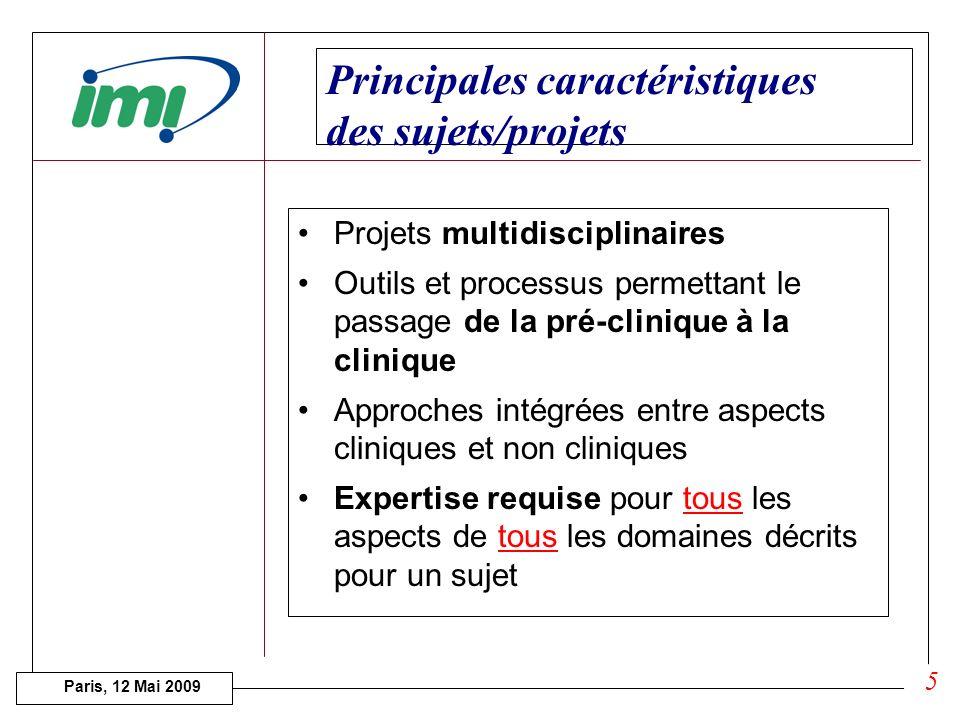 Paris, 12 Mai 2009 Description des sujets Expertise requise pour tous les aspects de tous les domaines décrits pour un sujet 4