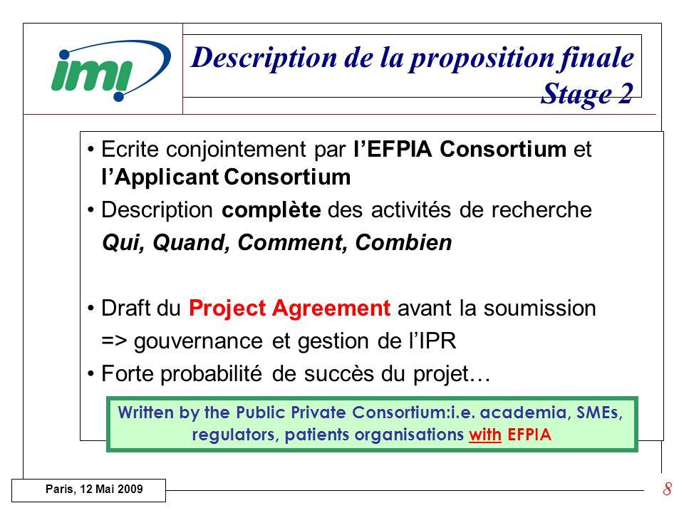 Paris, 12 Mai 2009 Evaluation des Expressions dIntérêts 4 catégories de critères : 1.Scientific and technological excellence. 4 critères (seuil 14/20)