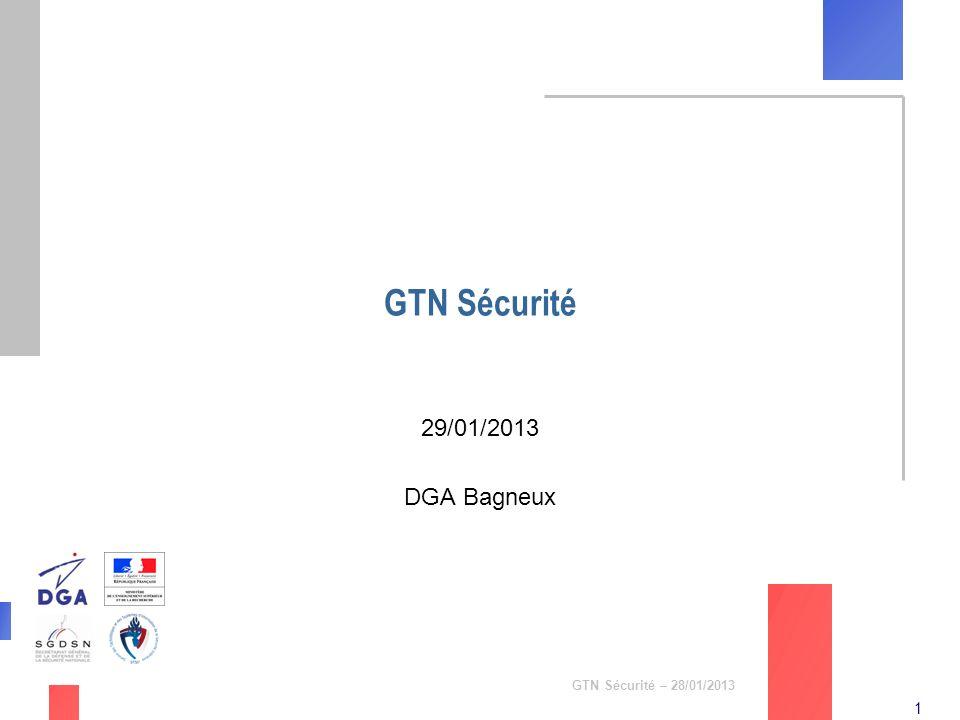 1 GTN Sécurité – 28/01/2013 GTN Sécurité 29/01/2013 DGA Bagneux