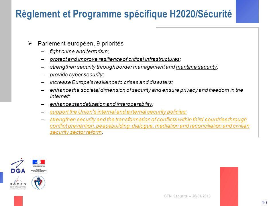 10 GTN Sécurité – 28/01/2013 Règlement et Programme spécifique H2020/Sécurité Parlement européen, 9 priorités –fight crime and terrorism; –protect and