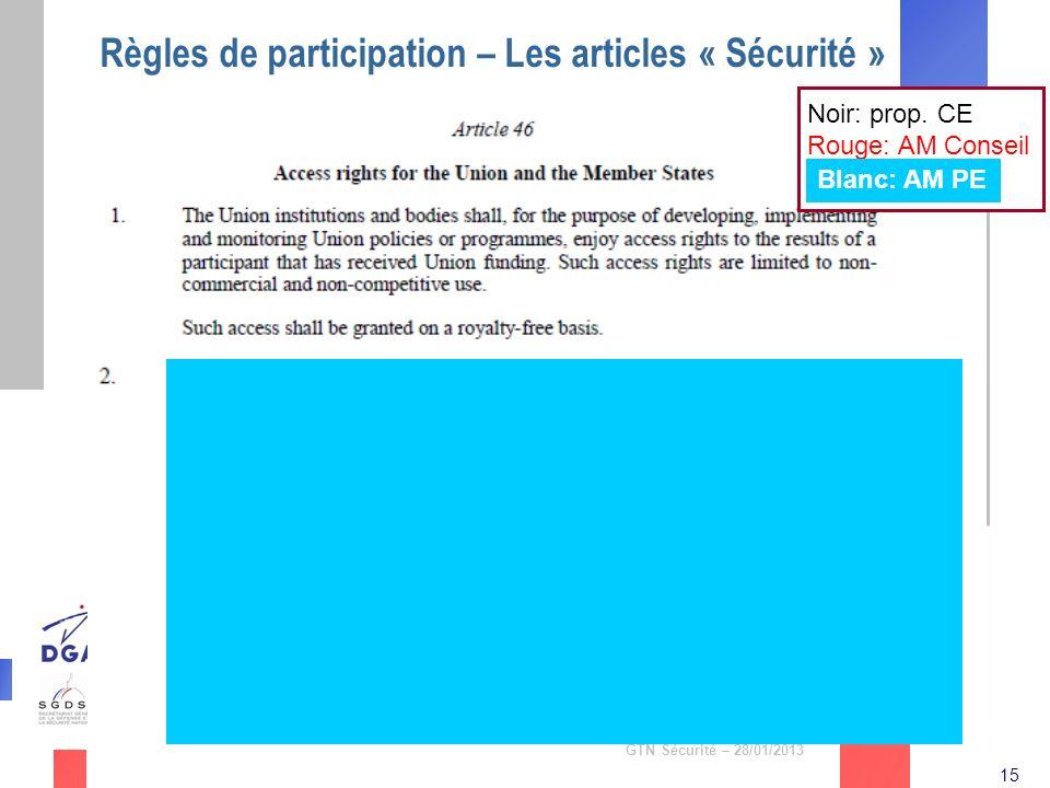 15 GTN Sécurité – 28/01/2013 Règles de participation – Les articles « Sécurité » Noir: prop. CE Rouge: AM Conseil Blanc: AM PE