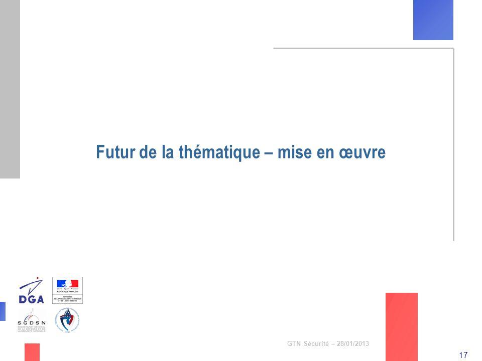 17 GTN Sécurité – 28/01/2013 Futur de la thématique – mise en œuvre