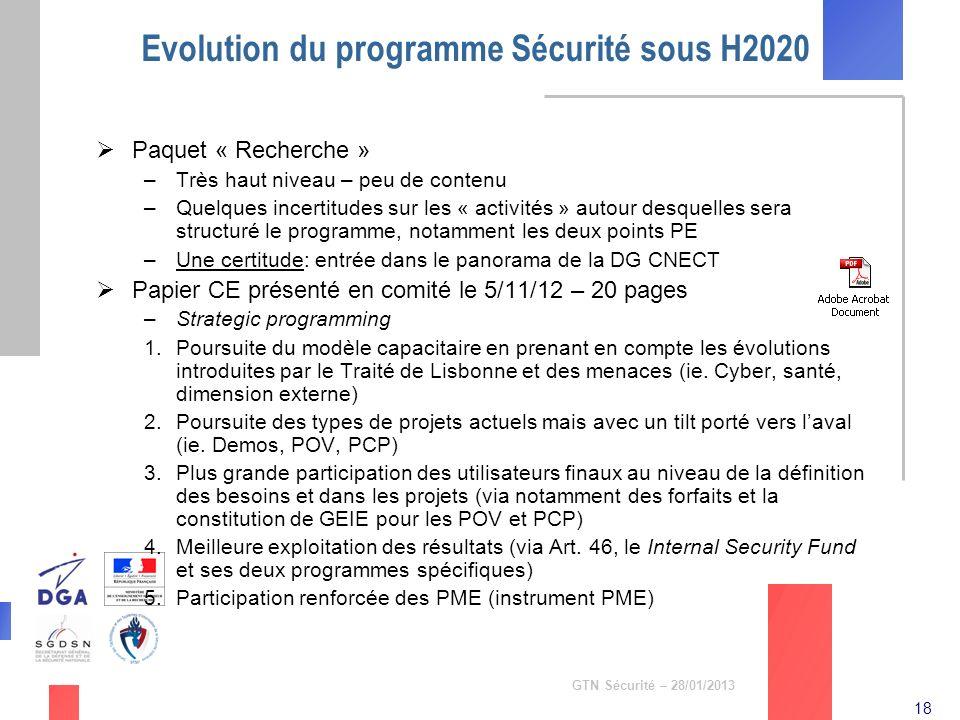 18 GTN Sécurité – 28/01/2013 Evolution du programme Sécurité sous H2020 Paquet « Recherche » –Très haut niveau – peu de contenu –Quelques incertitudes