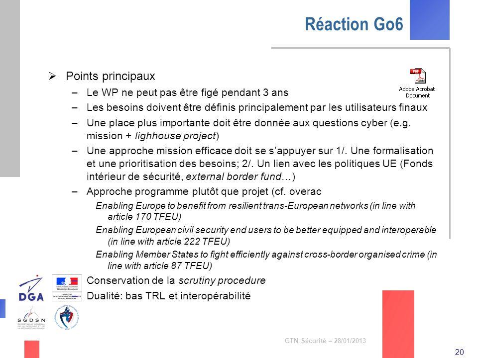 20 GTN Sécurité – 28/01/2013 Réaction Go6 Points principaux –Le WP ne peut pas être figé pendant 3 ans –Les besoins doivent être définis principalemen