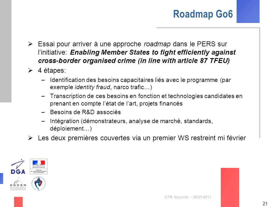21 GTN Sécurité – 28/01/2013 Roadmap Go6 Essai pour arriver à une approche roadmap dans le PERS sur linitiative: Enabling Member States to fight effic