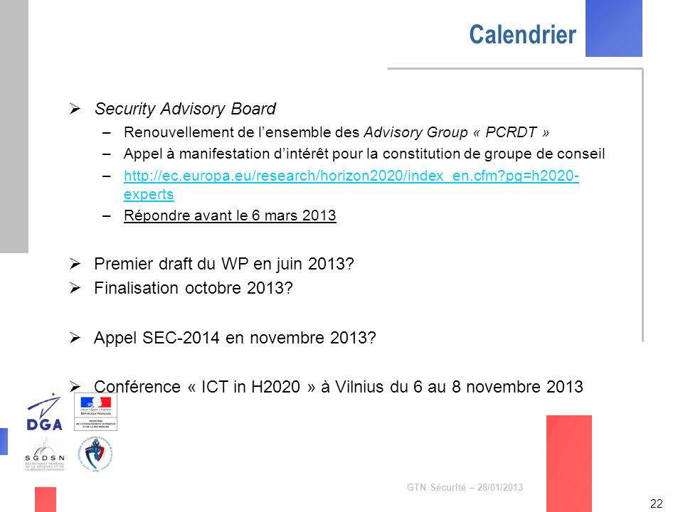 22 GTN Sécurité – 28/01/2013 Calendrier Security Advisory Board –Renouvellement de lensemble des Advisory Group « PCRDT » –Appel à manifestation dinté