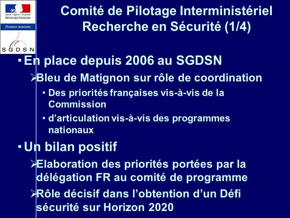 Comité de Pilotage Interministériel Recherche en Sécurité (1/4) En place depuis 2006 au SGDSN Bleu de Matignon sur rôle de coordination Des priorités