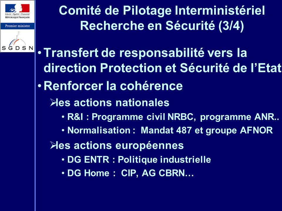 Comité de Pilotage Interministériel Recherche en Sécurité (3/4) Transfert de responsabilité vers la direction Protection et Sécurité de lEtat Renforce