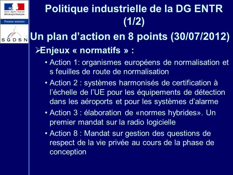 Politique industrielle de la DG ENTR (1/2) Un plan daction en 8 points (30/07/2012) Enjeux « normatifs » : Action 1: organismes européens de normalisa