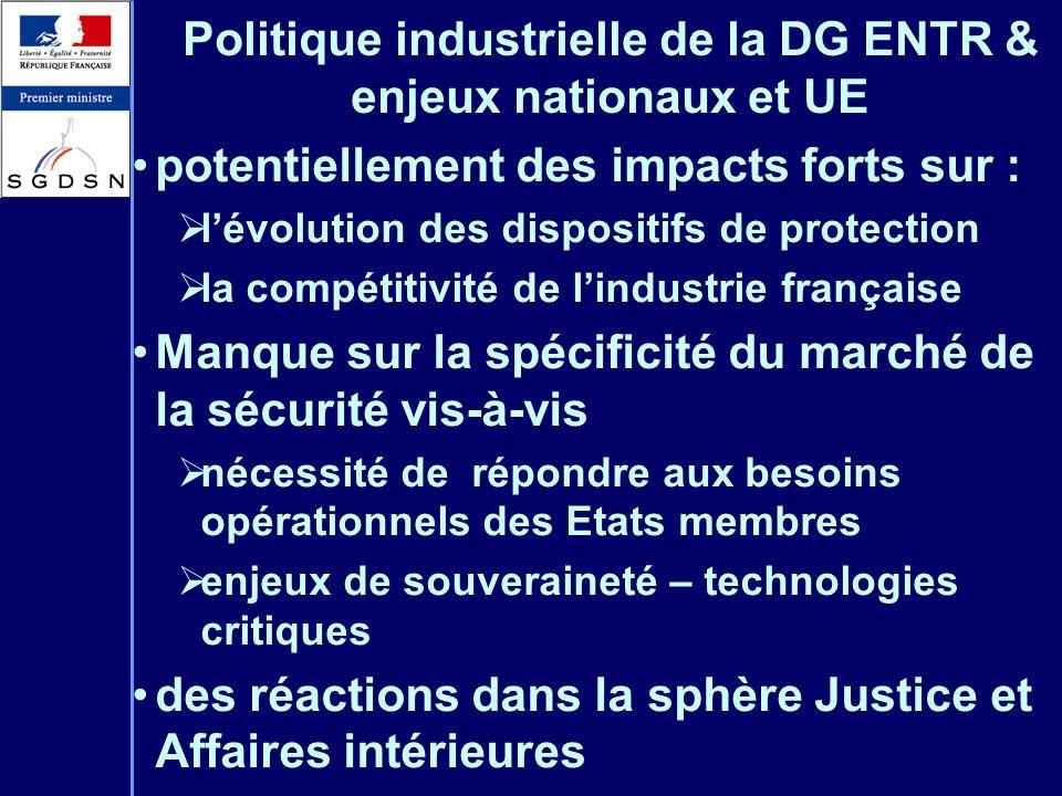 Politique industrielle de la DG ENTR & enjeux nationaux et UE potentiellement des impacts forts sur : lévolution des dispositifs de protection la comp