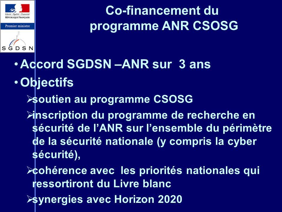 Co-financement du programme ANR CSOSG Accord SGDSN –ANR sur 3 ans Objectifs soutien au programme CSOSG inscription du programme de recherche en sécuri