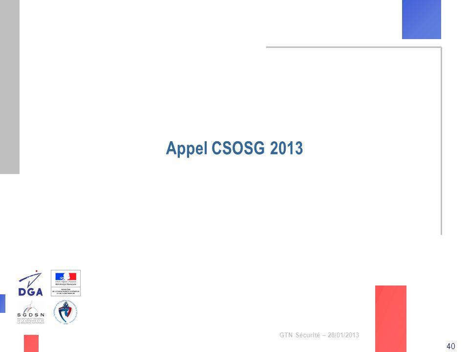 40 GTN Sécurité – 28/01/2013 Appel CSOSG 2013