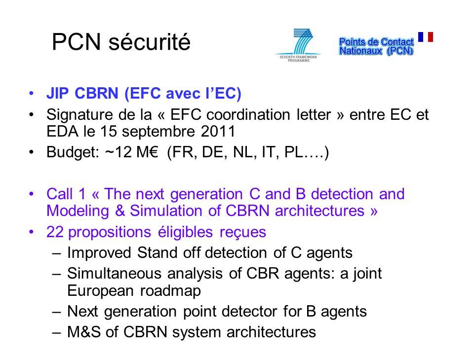 JIP CBRN (EFC avec lEC) Signature de la « EFC coordination letter » entre EC et EDA le 15 septembre 2011 Budget: ~12 M (FR, DE, NL, IT, PL….) Call 1 «
