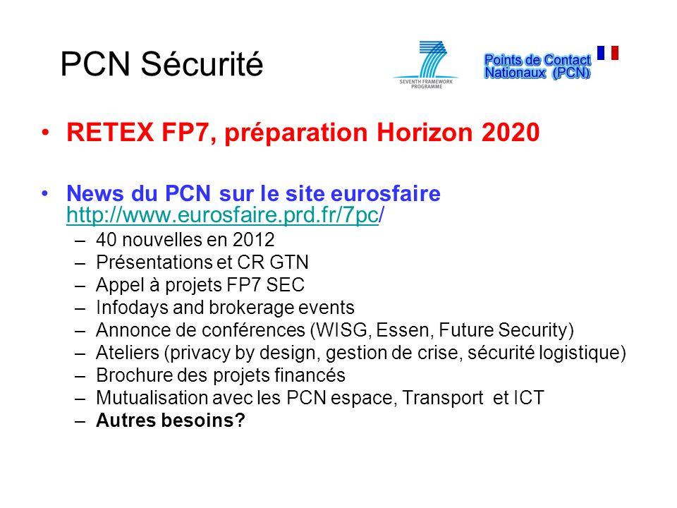 PCN Sécurité RETEX FP7, préparation Horizon 2020 News du PCN sur le site eurosfaire http://www.eurosfaire.prd.fr/7pc/ http://www.eurosfaire.prd.fr/7pc