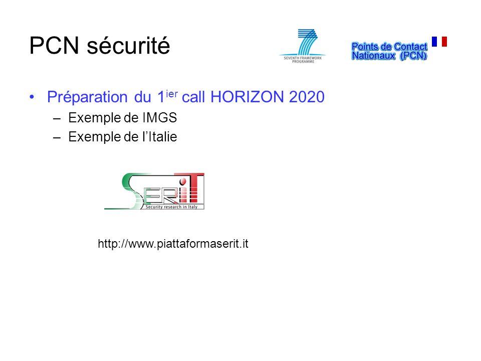 PCN sécurité Préparation du 1 ier call HORIZON 2020 –Exemple de IMGS –Exemple de lItalie http://www.piattaformaserit.it