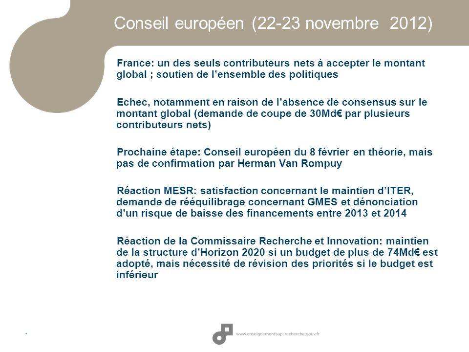 - Conseil européen (22-23 novembre 2012) France: un des seuls contributeurs nets à accepter le montant global ; soutien de lensemble des politiques Ec