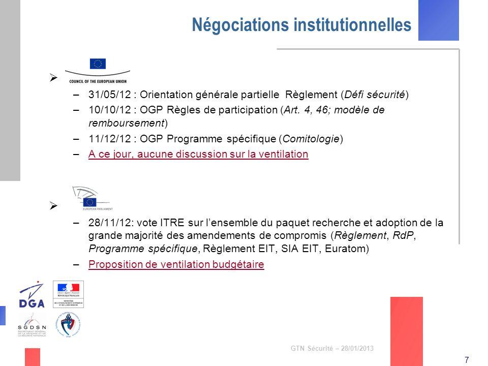 7 GTN Sécurité – 28/01/2013 Négociations institutionnelles Conseil –31/05/12 : Orientation générale partielle Règlement (Défi sécurité) –10/10/12 : OG