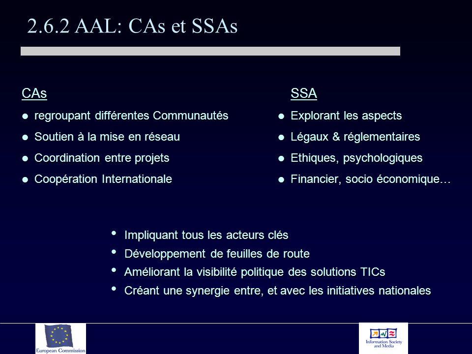 2.6.2 AAL: CAs et SSAs CAs regroupant différentes Communautés regroupant différentes Communautés Soutien à la mise en réseau Soutien à la mise en réseau Coordination entre projets Coordination entre projets Coopération Internationale Coopération Internationale SSA Explorant les aspects Légaux & réglementaires Ethiques, psychologiques Financier, socio économique… Impliquant tous les acteurs clés Impliquant tous les acteurs clés Développement de feuilles de route Développement de feuilles de route Améliorant la visibilité politique des solutions TICs Améliorant la visibilité politique des solutions TICs Créant une synergie entre, et avec les initiatives nationales Créant une synergie entre, et avec les initiatives nationales