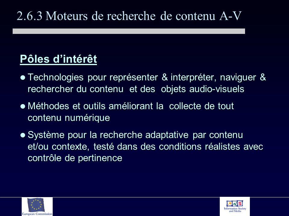 2.6.3 Moteurs de recherche de contenu A-V Pôles dintérêt Technologies pour représenter & interpréter, naviguer & rechercher du contenu et des objets audio-visuels Technologies pour représenter & interpréter, naviguer & rechercher du contenu et des objets audio-visuels Méthodes et outils améliorant la collecte de tout contenu numérique Méthodes et outils améliorant la collecte de tout contenu numérique Système pour la recherche adaptative par contenu et/ou contexte, testé dans des conditions réalistes avec contrôle de pertinence Système pour la recherche adaptative par contenu et/ou contexte, testé dans des conditions réalistes avec contrôle de pertinence
