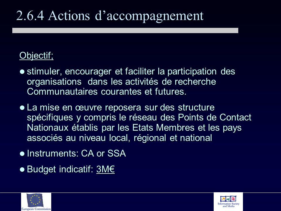 2.6.4 Actions daccompagnement Objectif; stimuler, encourager et faciliter la participation des organisations dans les activités de recherche Communautaires courantes et futures.
