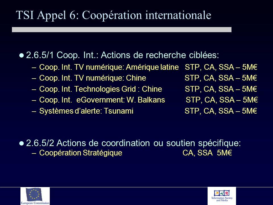 TSI Appel 6: Coopération internationale 2.6.5/1 Coop. Int.: Actions de recherche ciblées: 2.6.5/1 Coop. Int.: Actions de recherche ciblées: –Coop. Int