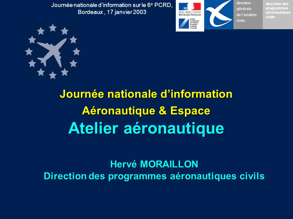 direction générale de laviation civile direction des programmes aéronautiques civils Journée nationale dinformation sur le 6 e PCRD, Bordeaux, 17 janvier 2003 Realising the Technical Agenda Process efficiency and resources The implementation of the SRA must produce a substantially greater output if the new and radical solutions are to be discovered and implemented.