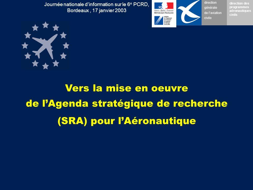 direction générale de laviation civile direction des programmes aéronautiques civils Journée nationale dinformation sur le 6 e PCRD, Bordeaux, 17 janvier 2003 Vers la mise en oeuvre de lAgenda stratégique de recherche (SRA) pour lAéronautique