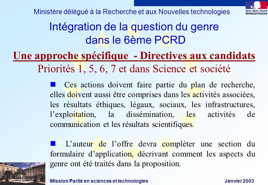 Mission Parité en sciences et technologies Janvier 2003 Ministère délégué à la Recherche et aux Nouvelles technologies Ces actions doivent faire parti