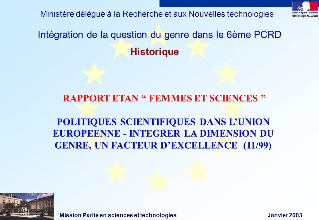 Mission Parité en sciences et technologies Janvier 2003 Ministère délégué à la Recherche et aux Nouvelles technologies Historique RAPPORT ETAN FEMMES