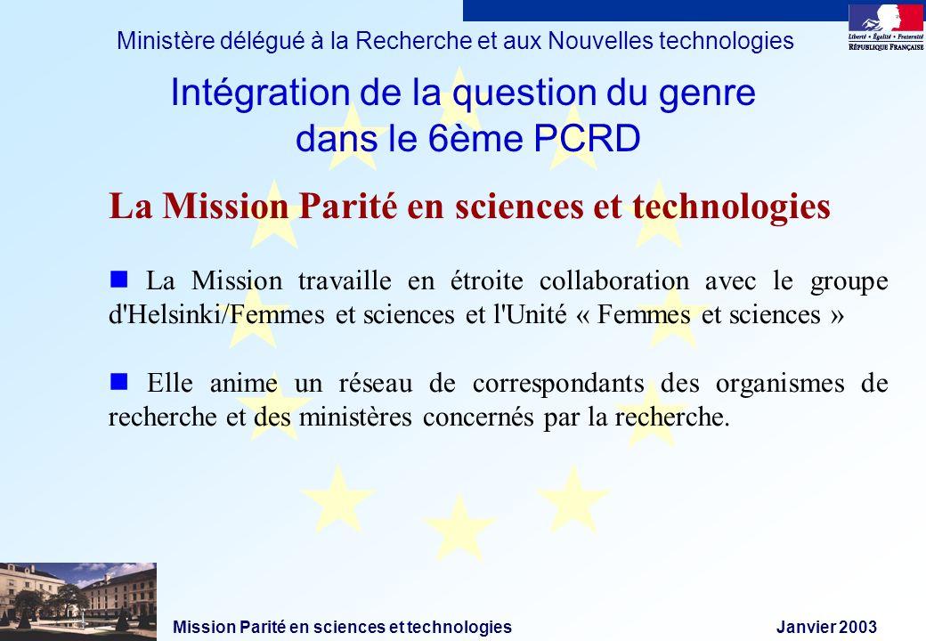 Mission Parité en sciences et technologies Janvier 2003 Ministère délégué à la Recherche et aux Nouvelles technologies La Mission Parité en sciences e