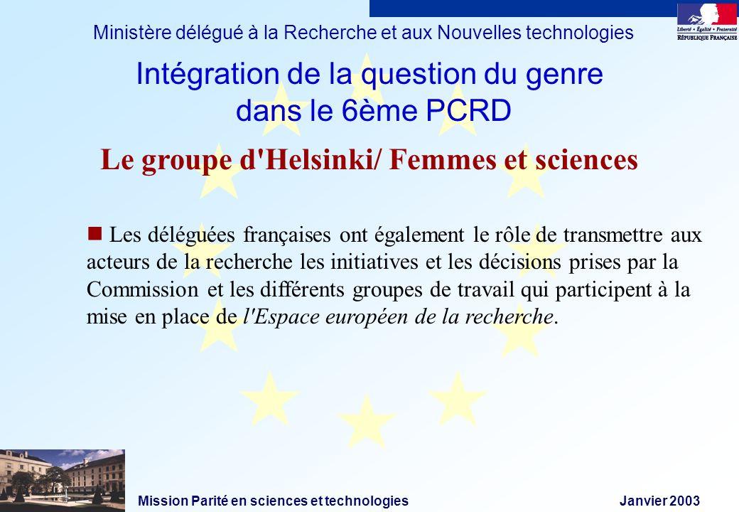 Mission Parité en sciences et technologies Janvier 2003 Ministère délégué à la Recherche et aux Nouvelles technologies Les déléguées françaises ont ég
