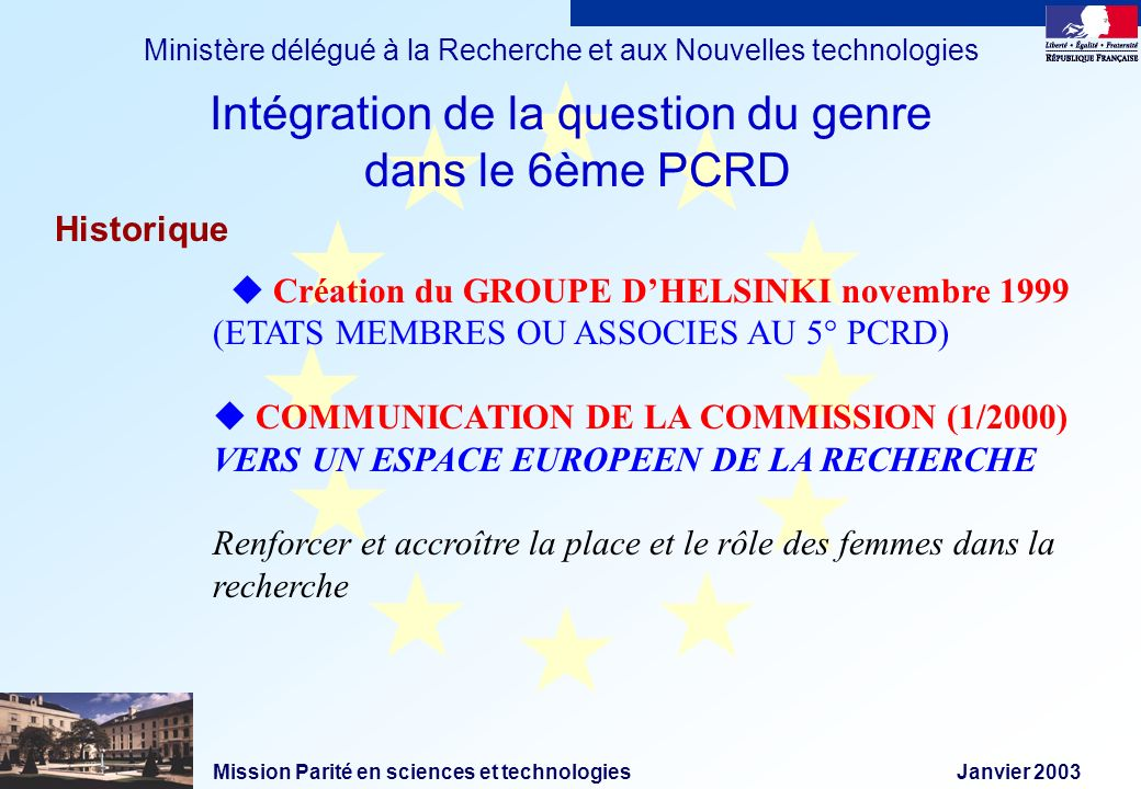 Mission Parité en sciences et technologies Janvier 2003 Ministère délégué à la Recherche et aux Nouvelles technologies Historique Création du GROUPE D