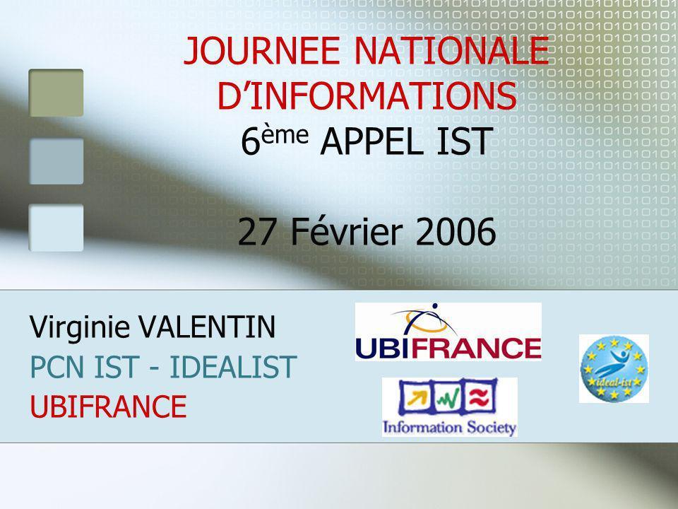 JOURNEE NATIONALE DINFORMATIONS 6 ème APPEL IST 27 Février 2006 Virginie VALENTIN PCN IST - IDEALIST UBIFRANCE