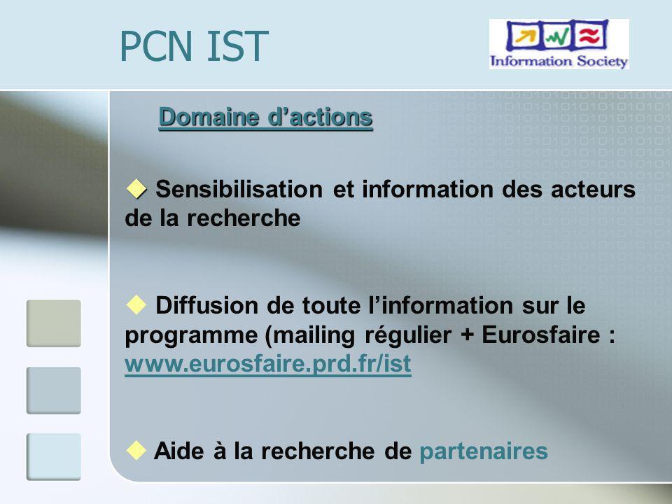 Domaine dactions u u Sensibilisation et information des acteurs de la recherche u Diffusion de toute linformation sur le programme (mailing régulier + Eurosfaire : www.eurosfaire.prd.fr/ist www.eurosfaire.prd.fr/ist u Aide à la recherche de partenaires PCN IST