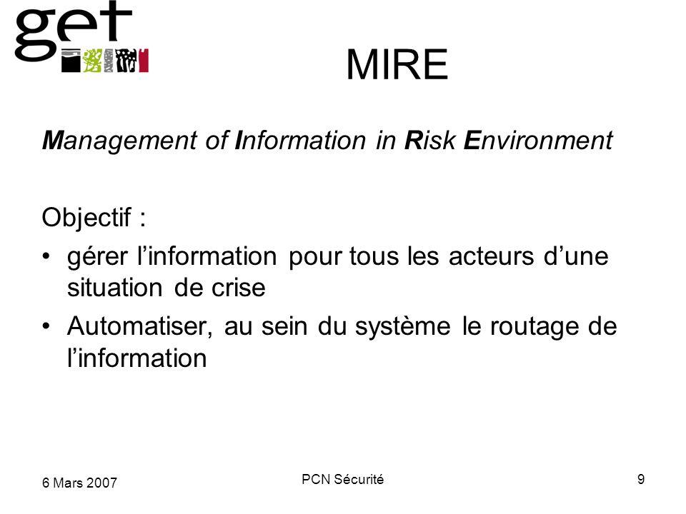 6 Mars 2007 PCN Sécurité9 MIRE Management of Information in Risk Environment Objectif : gérer linformation pour tous les acteurs dune situation de cri