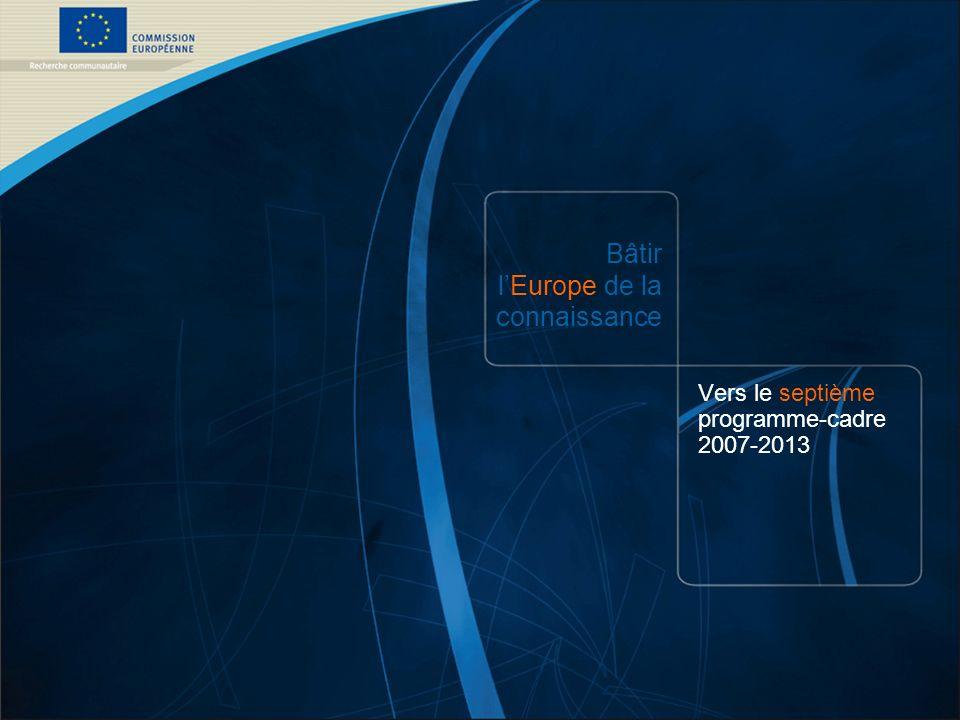 7 e PC /1 COMMISSION EUROPÉENNE – DG Recherche – 21/12/2006 Bâtir lEurope de la connaissance Vers le septième programme-cadre 2007-2013