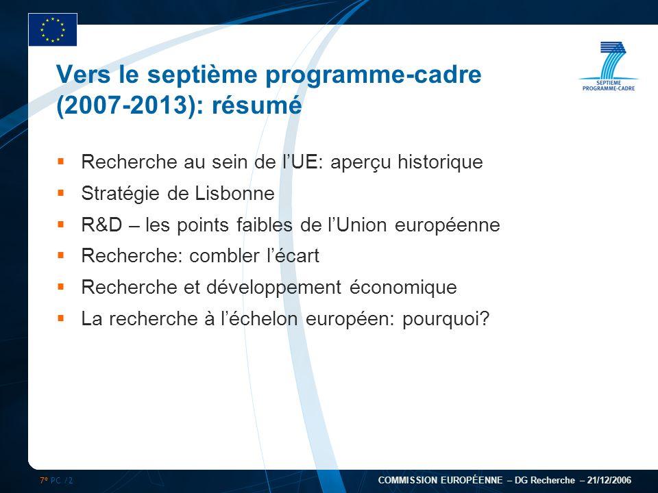 7 e PC /2 COMMISSION EUROPÉENNE – DG Recherche – 21/12/2006 Vers le septième programme-cadre (2007-2013): résumé Recherche au sein de lUE: aperçu hist