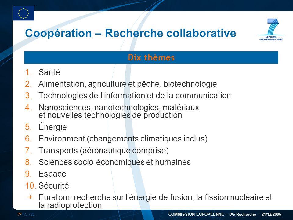 7 e PC /22 COMMISSION EUROPÉENNE – DG Recherche – 21/12/2006 Coopération – Recherche collaborative 1.Santé 2.Alimentation, agriculture et pêche, biote